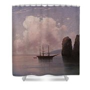 Ship In Calm Water At Dusk Shower Curtain