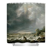 Ship In Distress Off A Rocky Coast Shower Curtain