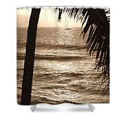 Ship In Sunset Shower Curtain