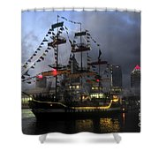 Ship In The Bay Shower Curtain