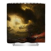 Ship On Fire Shower Curtain