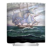 Ship Out To Sea Shower Curtain