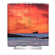 Ship Under Blood Red Skies Shower Curtain