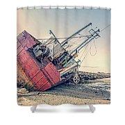 Shipwreck Provincetown Breakwater Shower Curtain