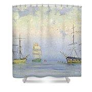 Shipping At Anchor Shower Curtain