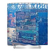 Shipping Containers And Building Windows Reflecting Graffiti  Art Of Valparaiso-chile Shower Curtain