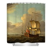 Shipping In The Thames Estuary Shower Curtain
