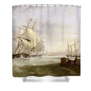 Shipping Off Hartlepool Shower Curtain by John Wilson Carmichael