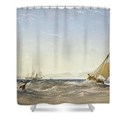 Shipping Off The Coast Shower Curtain