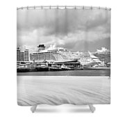 Ships All In A Row Shower Curtain