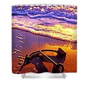 Ships Anchor On Beach Shower Curtain