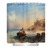 Ships By The Coast Shower Curtain
