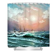 Ships In A Storm At Sunset Shower Curtain