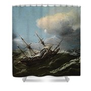 Ships In A Storm Shower Curtain