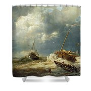 Ships In A Storm On The Dutch Coast Shower Curtain