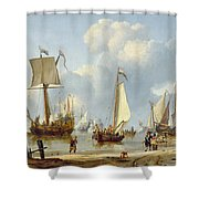 Ships In Calm Water With Figures By The Shore Shower Curtain by Abraham Storck