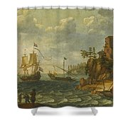 Ships Moored Off A Rocky Coastline With Fishermen Unloading Their Catch Shower Curtain