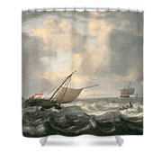 Ships On A Choppy Sea Shower Curtain by Hendrik van Anthonissen