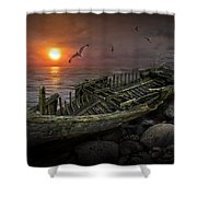 Shipwreck At Sunset Shower Curtain