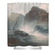 Shipwreck Off A Rocky Coast Shower Curtain
