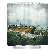 Shipwreck Off Nantucket Shower Curtain