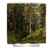 Shishkin, Ivan 1832-1898 Forest Clearing Shower Curtain
