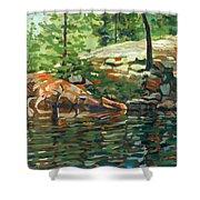 Shoal Lake - Granite Shore Shower Curtain