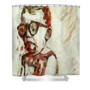 Shocked Scared Screaming Boy With Curly Red Hair In Glasses And Overalls In Acrylic Paint As A Loose Shower Curtain