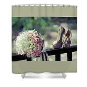 Shoes And Wedding Bouquet Shower Curtain