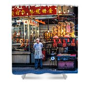 Shop Owner Standing In Front Of Poultry Shop On Temple Street Night Market Kowloon Hong Kong China Shower Curtain