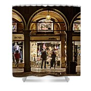 Shop Windows At Night On Piazza San Marco - Venice Shower Curtain