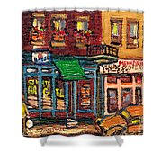 St Viateur Bagel Shop And Mehadrins Kosher Deli Best Original Montreal Jewish Landmark Painting  Shower Curtain