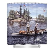 Shore Lunch On The Line Shower Curtain by Richard De Wolfe