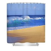 Shorebreak Waves Shower Curtain by Ali ONeal - Printscapes