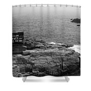 Shoreline And Shipwreck - Portland, Maine Bw Shower Curtain