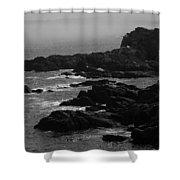 Shoreline - Portland, Maine Bw Shower Curtain