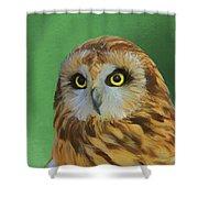 Short Eared Owl On Green Shower Curtain