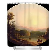 Shoshone Indians At A Mountain Lake Shower Curtain