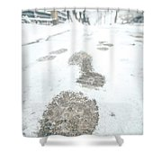 Show Footprints In Snow On Sidewalk Along The Park Shower Curtain