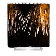 Shower Of Orange Colors Using Pyrotechnics Firework Shower Curtain