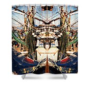 Shrimp Boat Abstract Shower Curtain