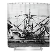 Shrimp Boat In Black And White Shower Curtain
