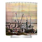 Shrimp Boats Watercolor Shower Curtain