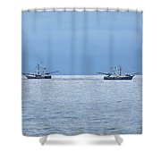 Shrimping In The Open Seas Shower Curtain