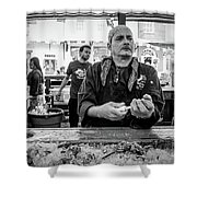 Shucking Oysters 2 - French Quarter- Bw Shower Curtain