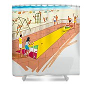 Retro Shuffleboard Art From The 1960's Shower Curtain