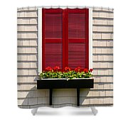 Shutter And Flowers Shower Curtain