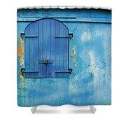 Shuttered Blue Shower Curtain