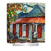 Shuttered Red  Shower Curtain