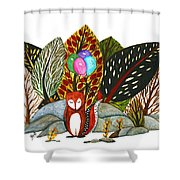 Shy Fox With Balloons  Shower Curtain
